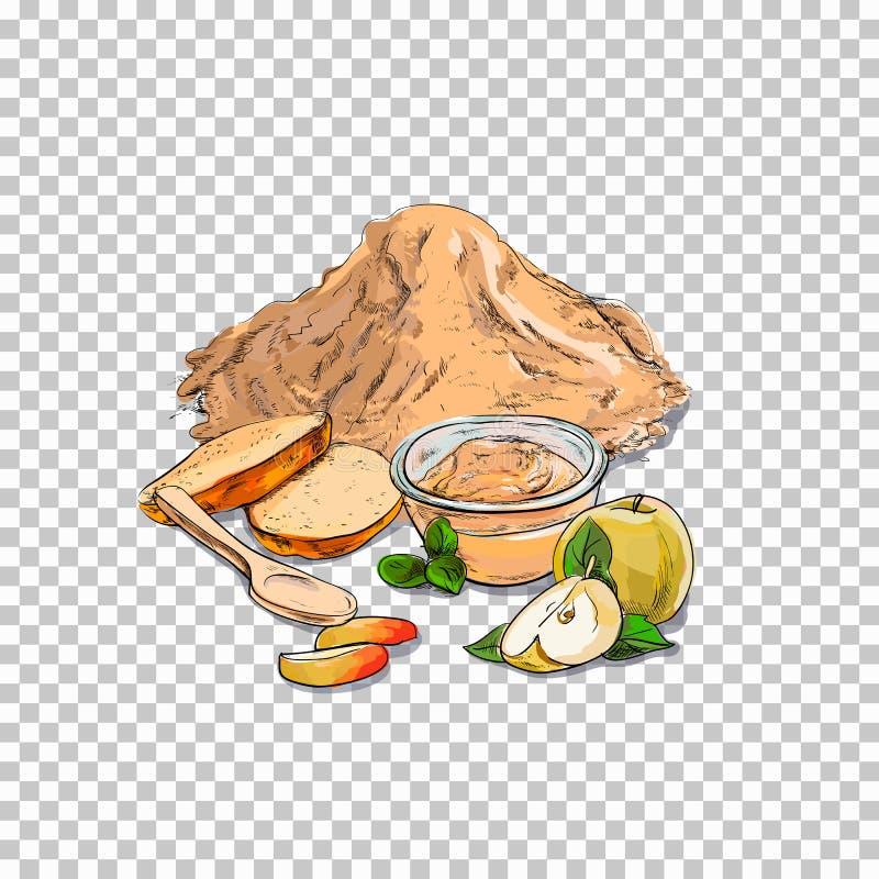 面粉和新烘烤 蛋糕,在透明背景相关例证的曲奇饼在明亮的动画片样式.图片