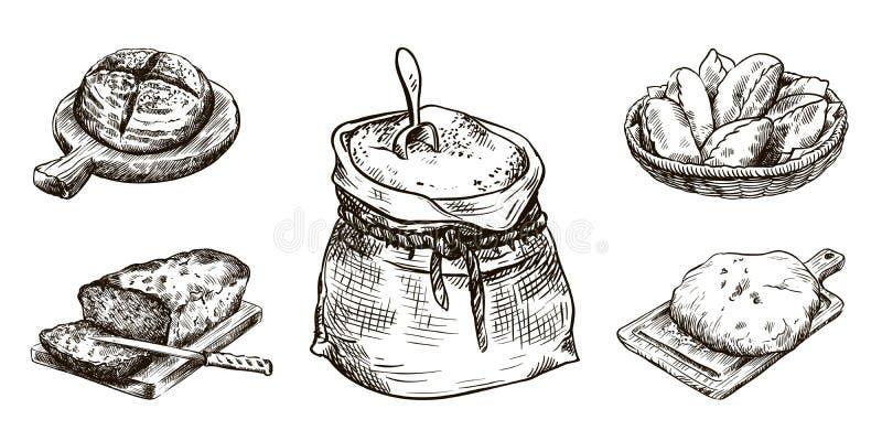 面粉和新鲜的面包店产品 烘烤自创 面包店设计图象产品 在白色的传染媒介剪影 向量例证