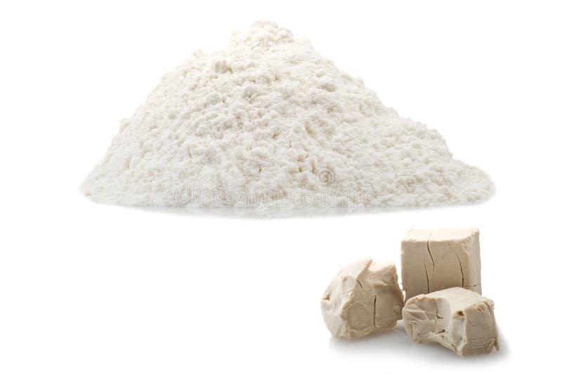 面粉和酵母立方体 免版税图库摄影