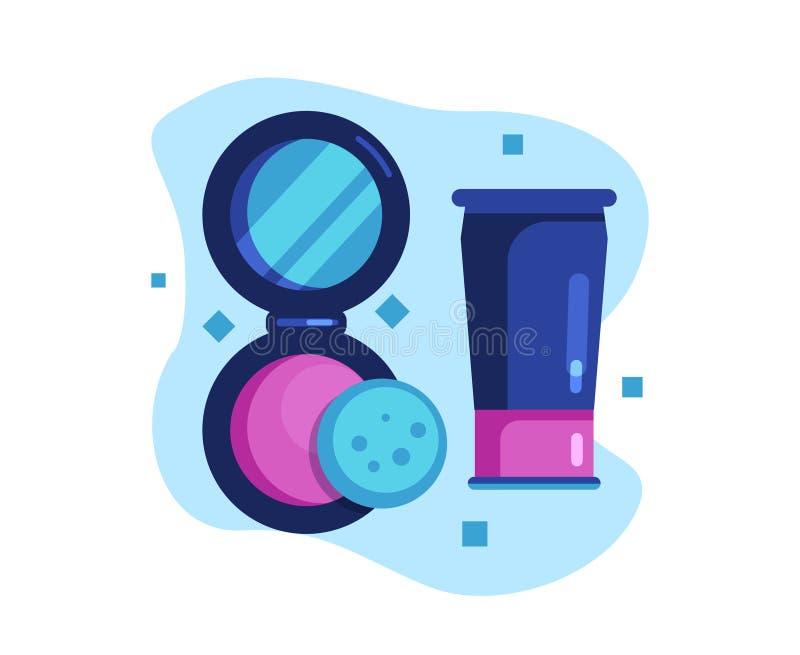 面粉和面霜,皮肤护理 库存例证