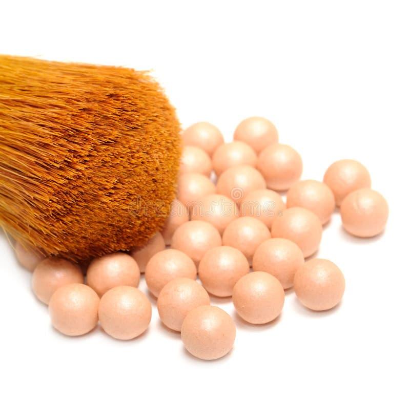 面粉珍珠和构成画笔 库存照片