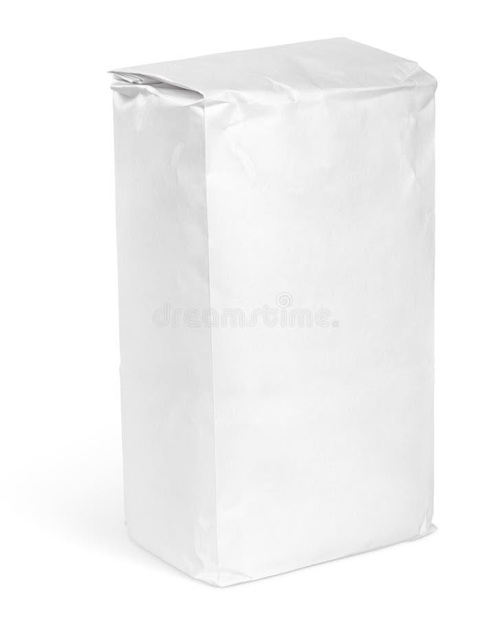 面粉白色白纸袋子包裹  免版税图库摄影