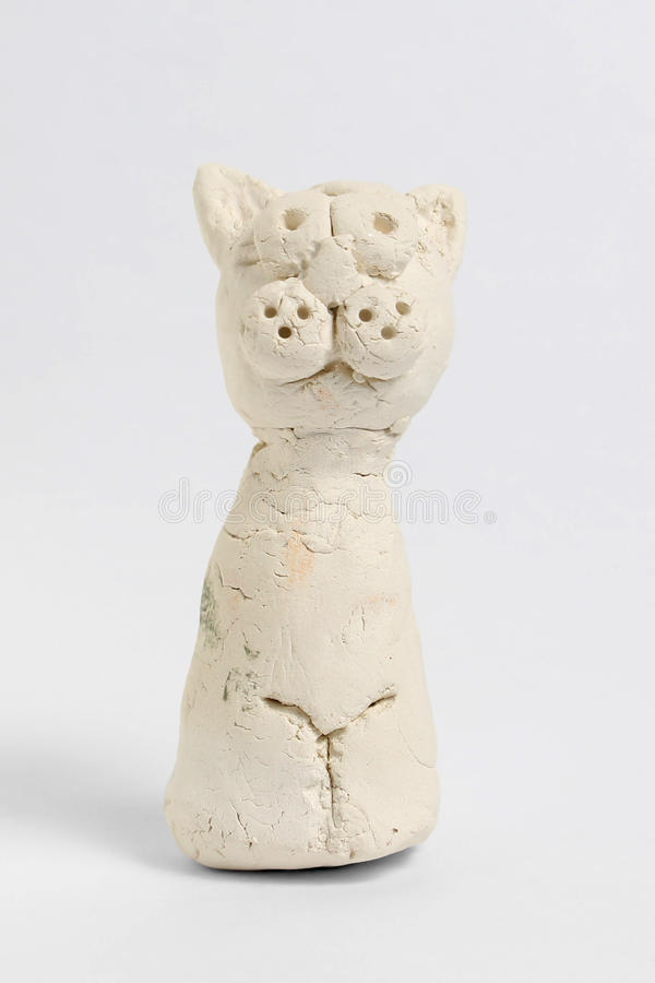 从面粉的白色猫 库存照片