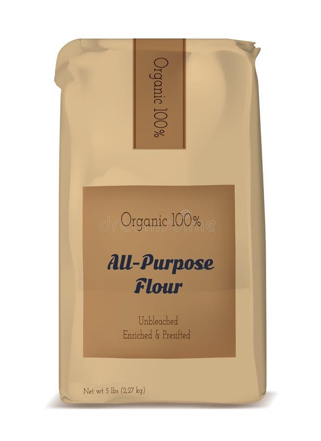 面粉的纸袋 传染媒介褐色软的包装 向量例证
