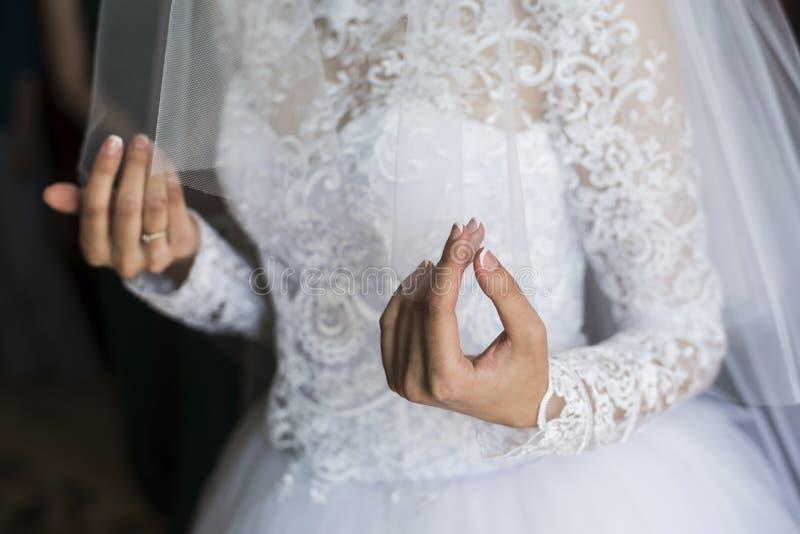 面纱在新娘的手上 免版税库存图片