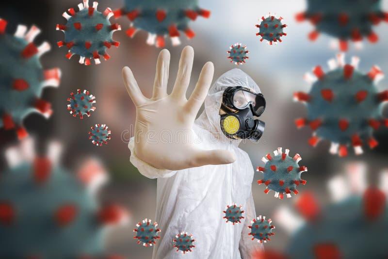 面罩和呼吸面罩中的人能抵御病毒 免版税库存照片