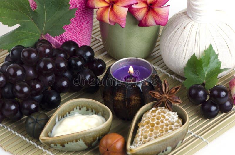 面罩用拉紧皮肤和去除在面孔的黑点的葡萄、蜂蜜和酸奶 免版税库存照片