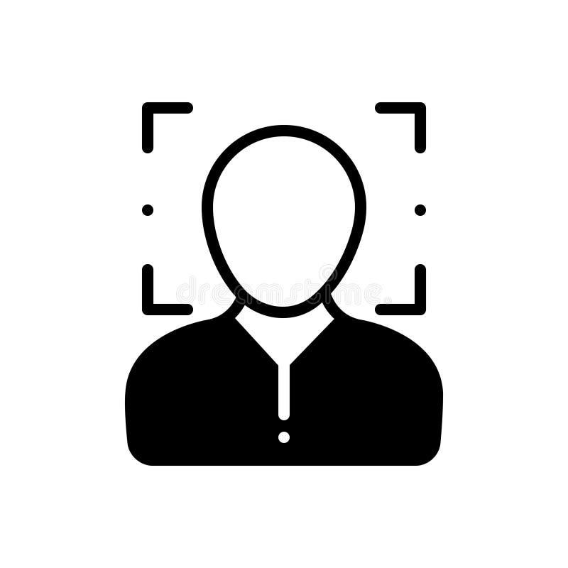 面貌识别、安全和扫描的黑坚实象 库存例证