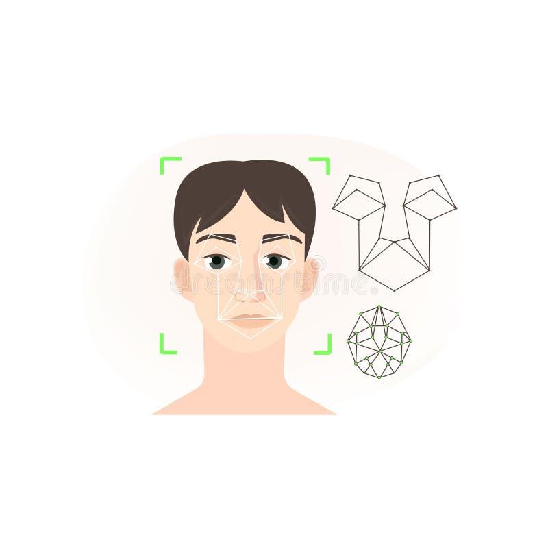 面貌识别分析使用线多角形类型的系统 库存例证