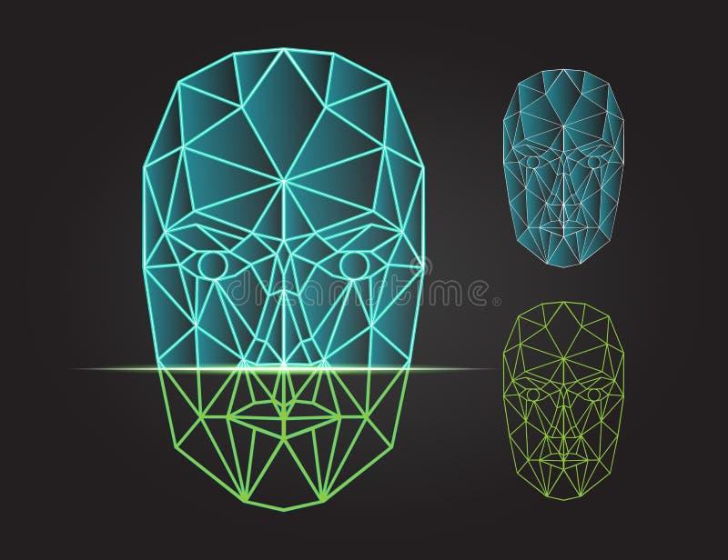 面貌识别和扫描-生物统计的安全 向量例证