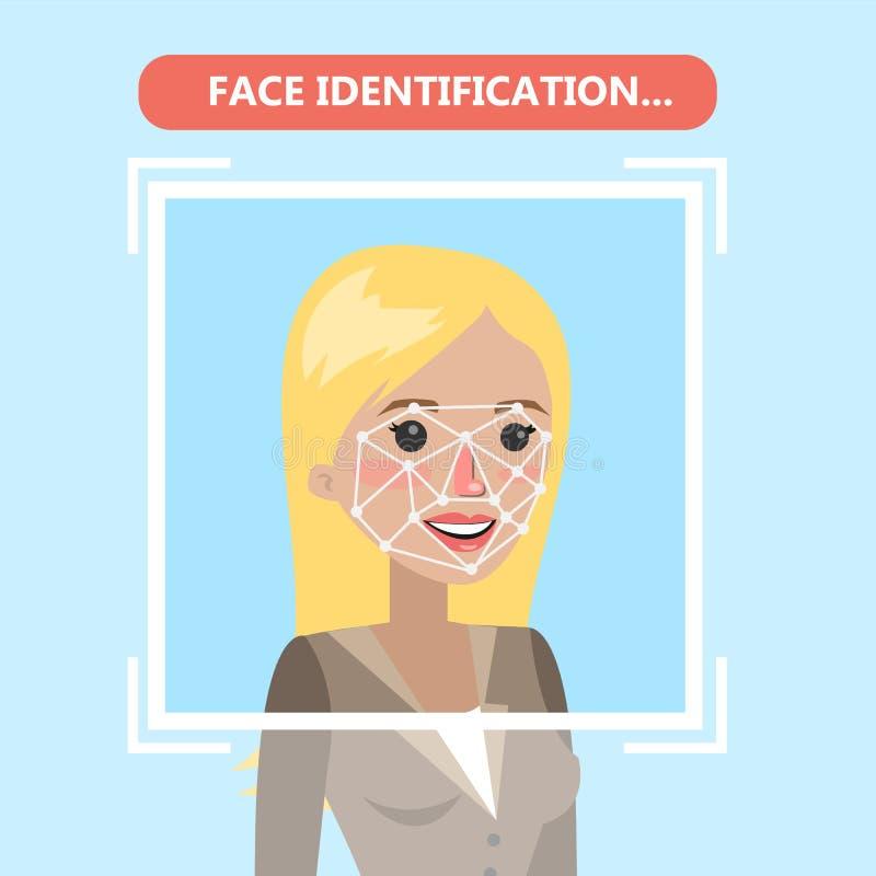 面貌识别技术 向量例证