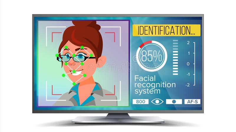面貌识别,鉴定系统传染媒介 面貌识别技术 在屏幕上的妇女面孔 人面与 皇族释放例证