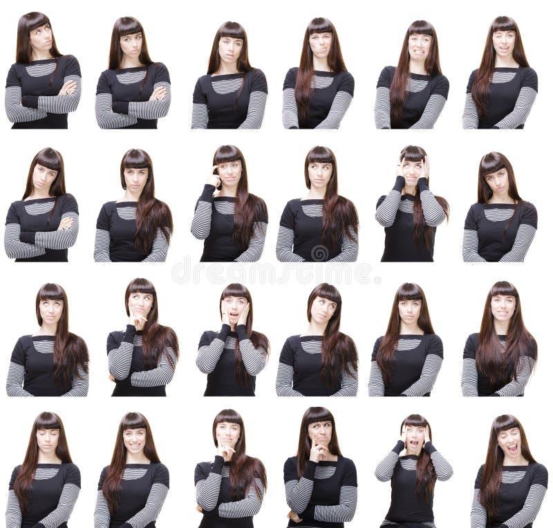 面部不同的表达式 免版税库存图片