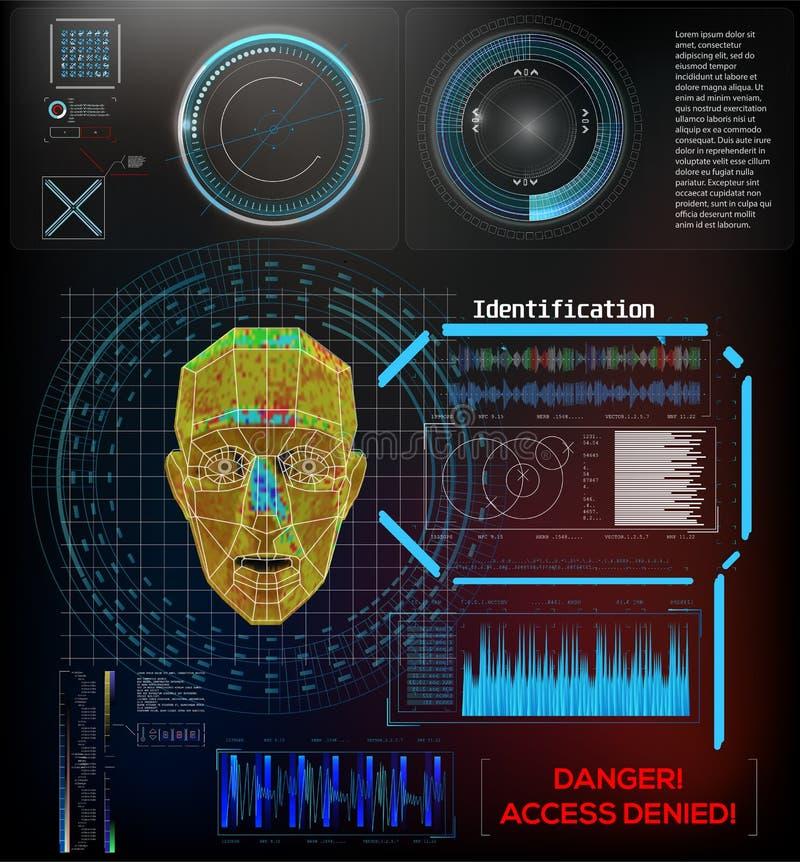 面部公认技术指纹,声音 识别系统概念认证 库存例证
