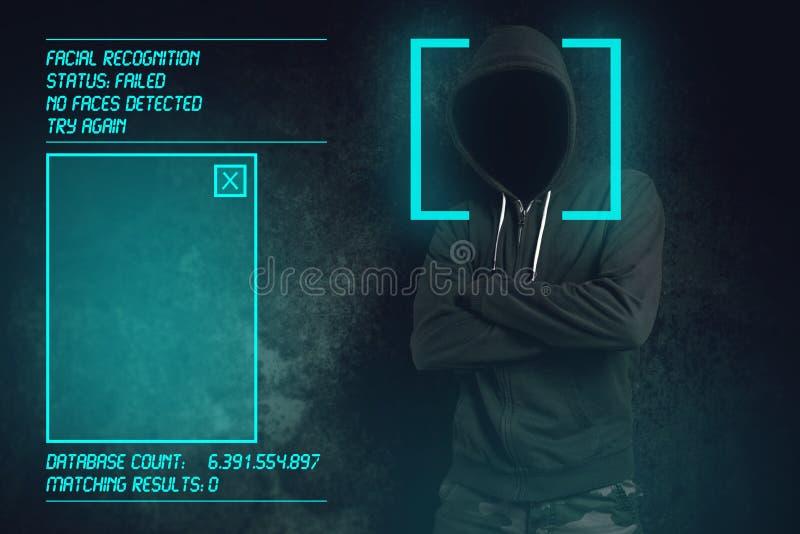 面部公认软件无法在生物统计的证明 免版税库存照片