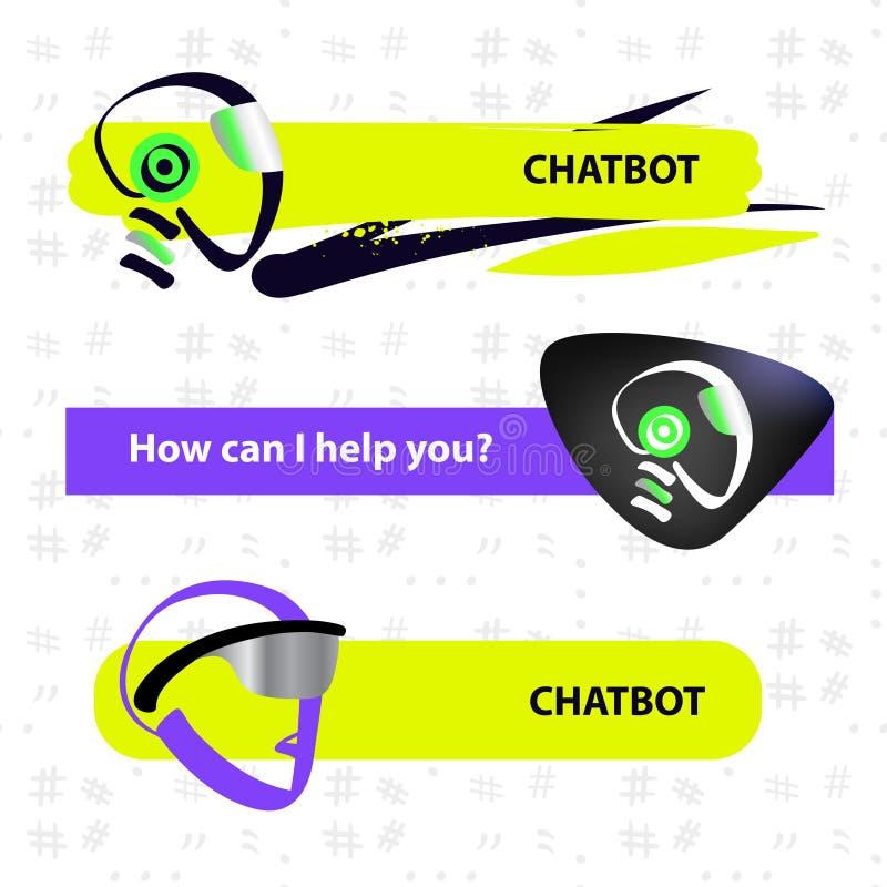 面部具体化chatbot的概念 剪影顶头机器人 模板ch 库存例证