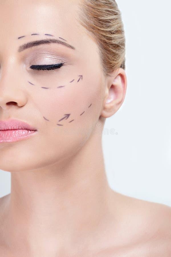 面部手术更正 免版税库存照片