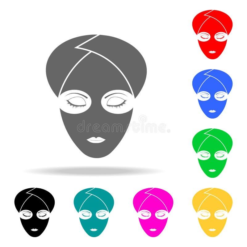 面部面具象白色背景象 流动概念和网apps的理发师元素多色的象 网站desig的象 皇族释放例证