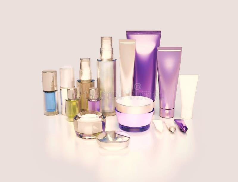 面霜、眼睛奶油、血清和唇膏 应用关心皮肤透明油漆 免版税库存图片
