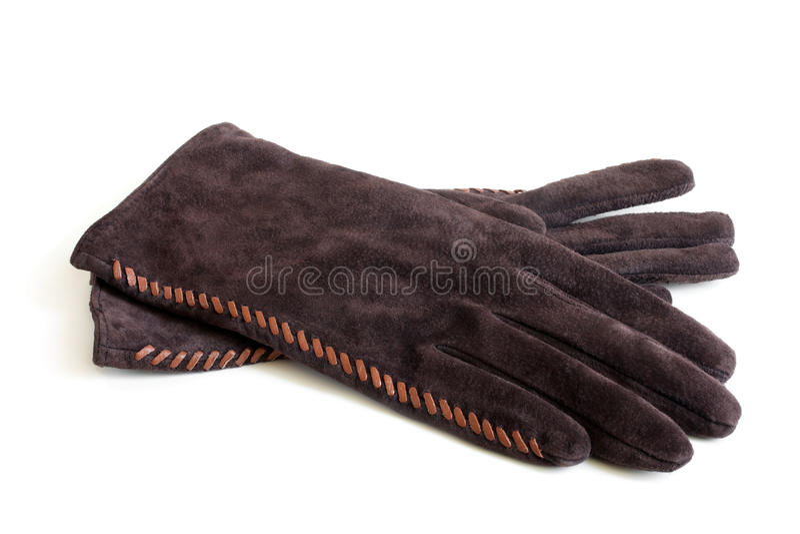 绒面革妇女的手套 库存图片