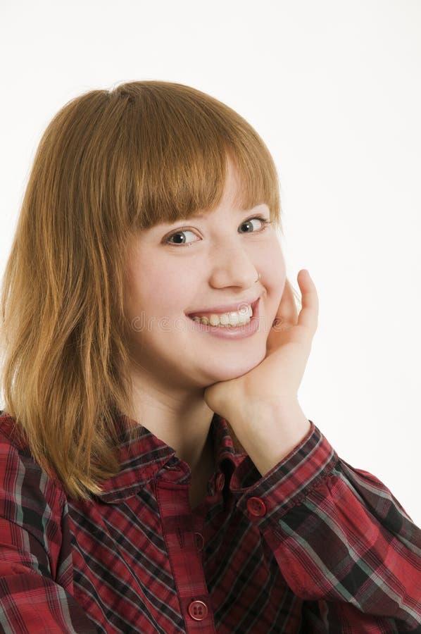 面颊接触妇女年轻人 免版税库存照片