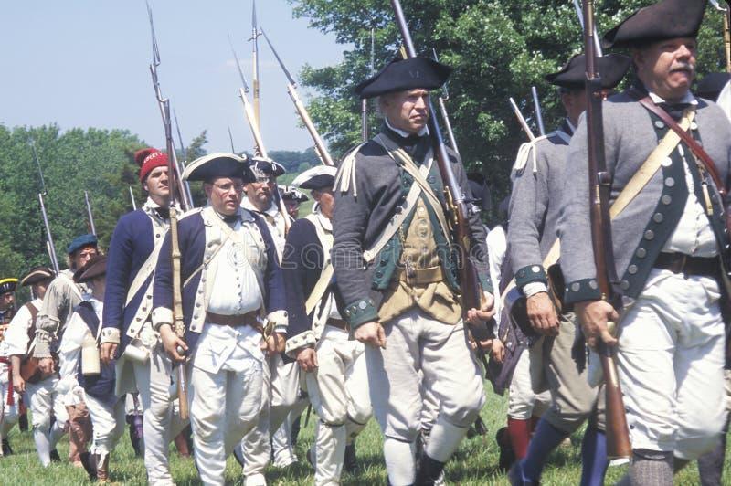 革命战争再制定,终身保有的不动产, NJ, Monmouth, Monmouth战场国家公园争斗218th周年纪念 图库摄影