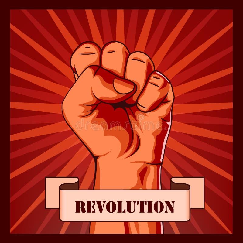 革命拳头创造性的海报概念 皇族释放例证