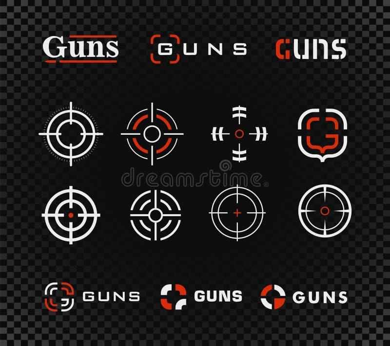 靶场模板和图标集合。黑色背景上有枪或其他武器步枪瞄准标志……靶场模板和图标集合。黑色背æ 库存照片