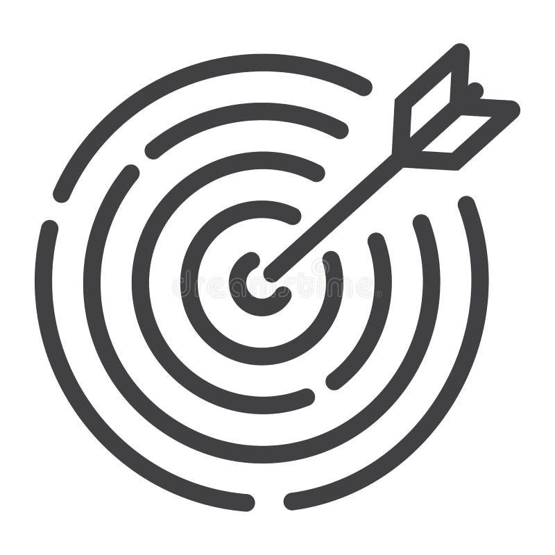 靶子设置线象、事务和掷镖的圆靶 向量例证
