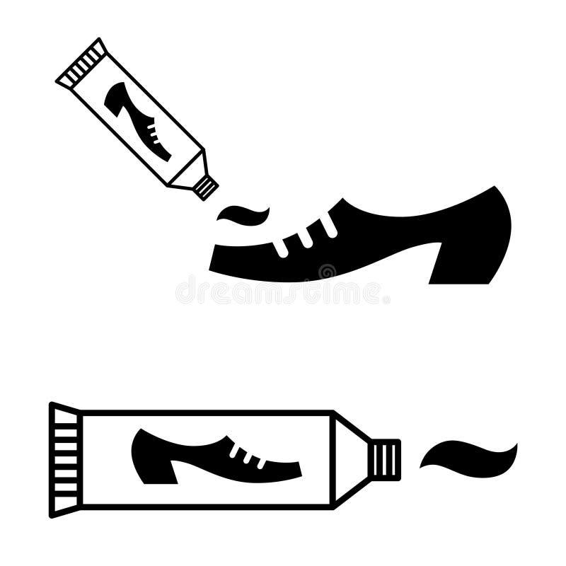 鞋子上光剂奶油管  皇族释放例证