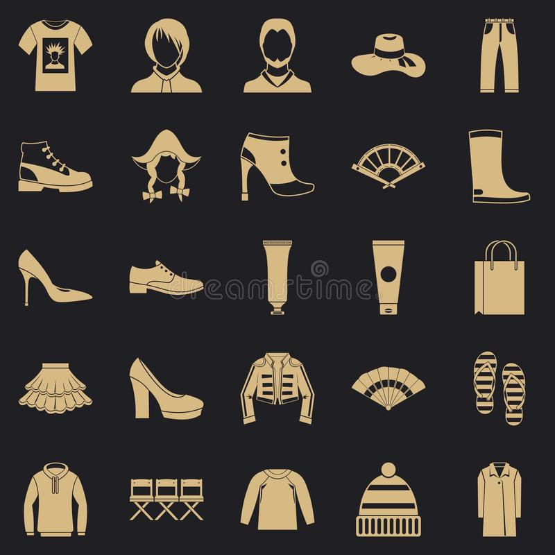 鞋子上光剂象集合,简单的样式 库存例证
