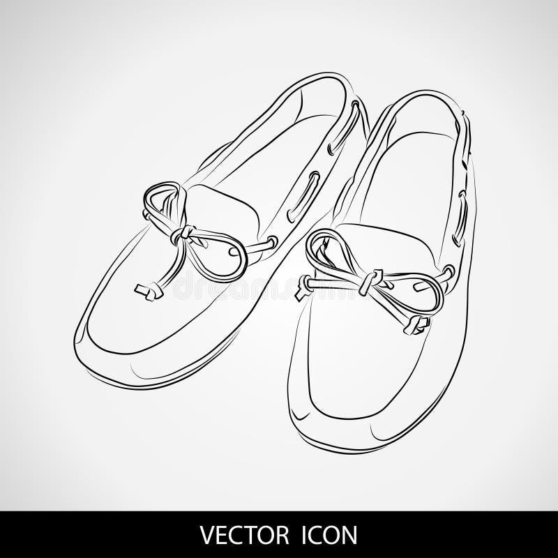 鞋子剪影在灰色背景的 鹿皮鞋 向量例证