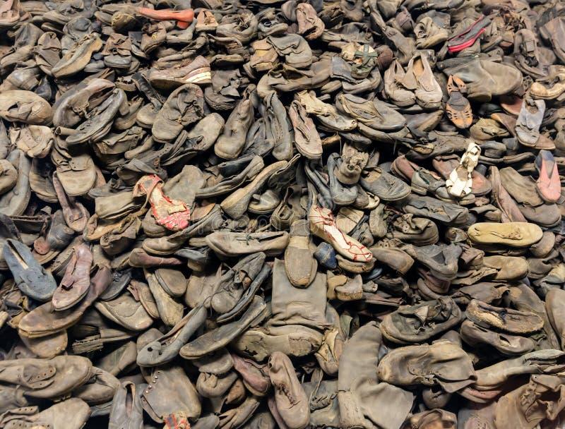 鞋子受害者,死亡收容所奥斯威辛II 库存图片
