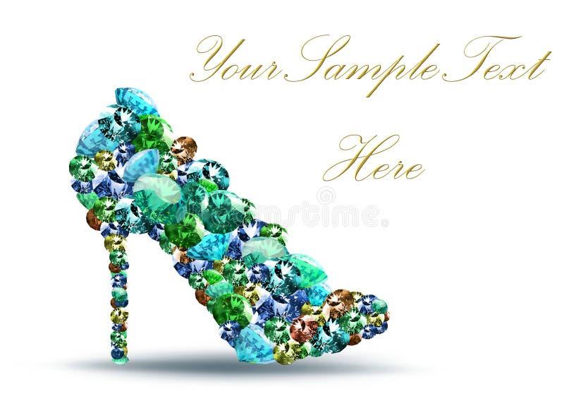 鞋子形状由金刚石做成 皇族释放例证