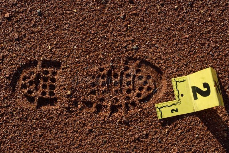 鞋子打印证据 免版税图库摄影