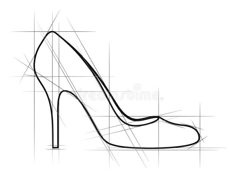 鞋子草图妇女 库存例证