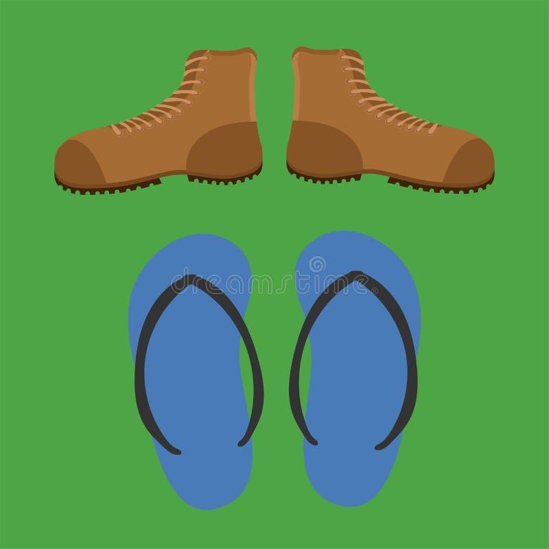 鞋子鞋子鞋类起动凉鞋骡子拖鞋拖鞋传染媒介例证 向量例证