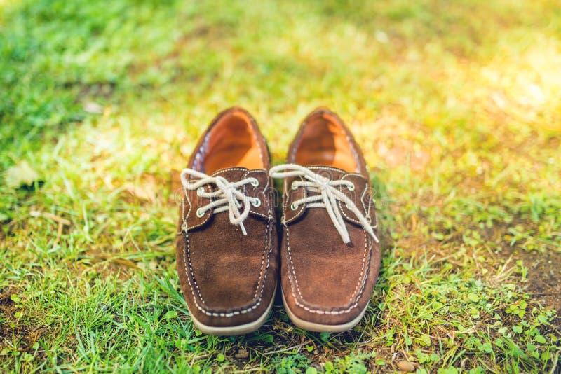 鞋子,典雅的棕色夏天鹿皮鞋 精神皮鞋,从上面的看法,为编目准备 免版税库存图片