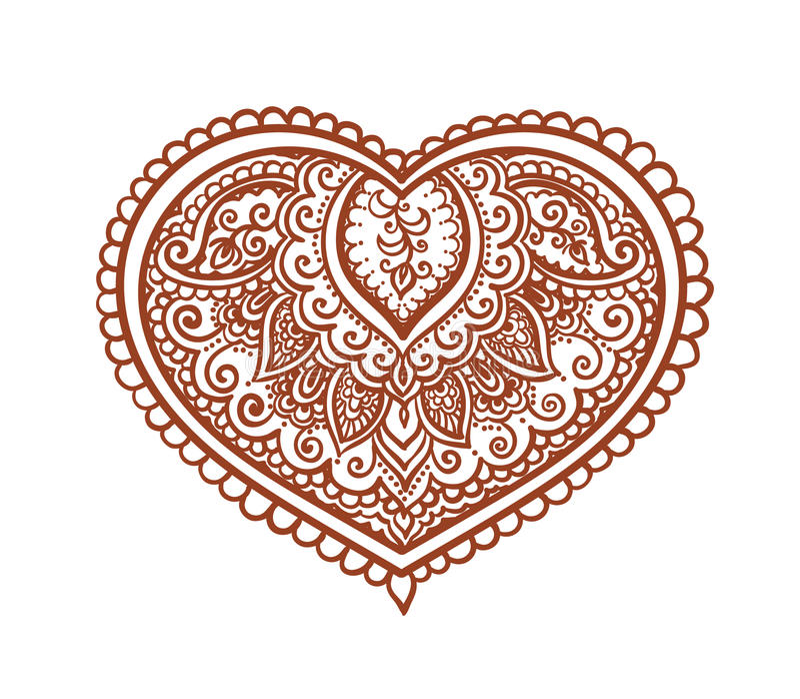 鞋带心脏-种族无刺指甲花纹身花刺 传染媒介为情人节 库存例证