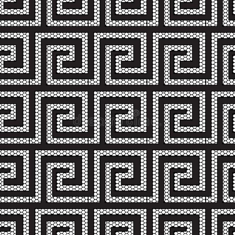 鞋带构造了几何现代化的希腊人传染媒介无缝的样式 华丽黑白栅格格子仿造了希腊关键河曲 皇族释放例证