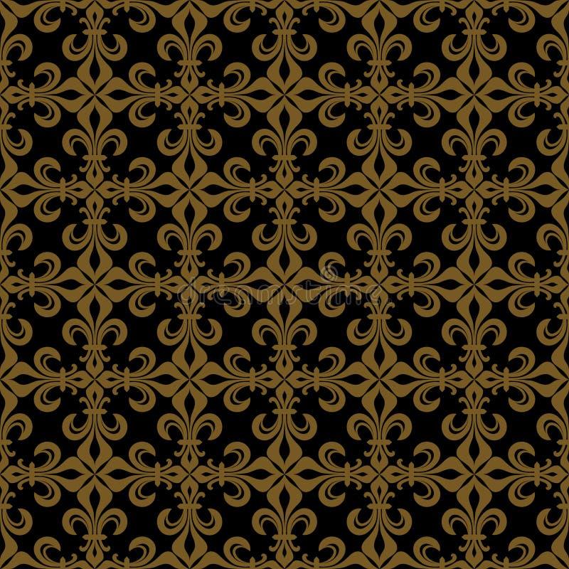 鞋带deLuce百合Lace,富有的古铜色无缝的样式 库存例证