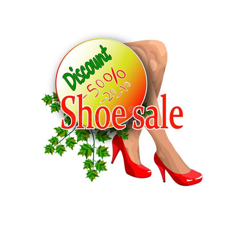 鞋店的横幅销售 向量例证