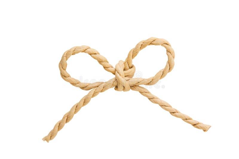 鞠躬结由亚麻制绳索串制成被隔绝在白色背景 免版税图库摄影