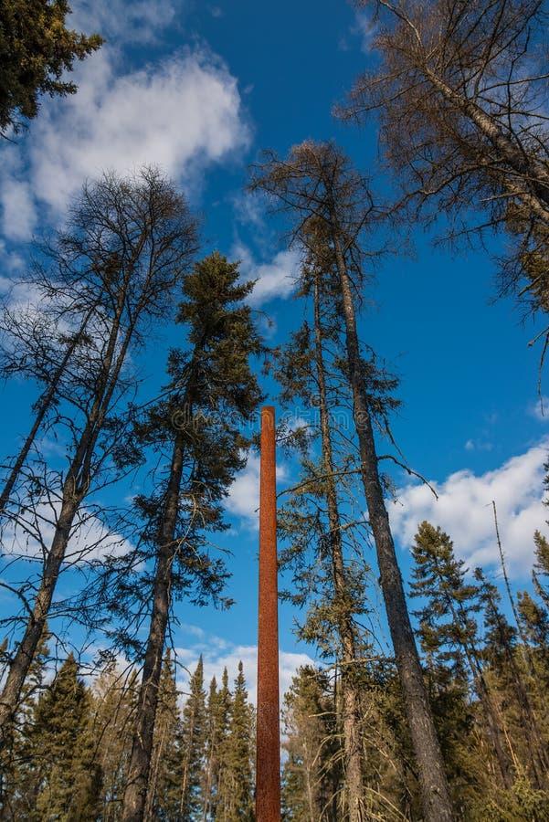 韦尔斯通纪念品-杆象点对在埃弗勒思,明尼苏达附近飞机失事的地方,当保罗韦尔斯通是 库存照片