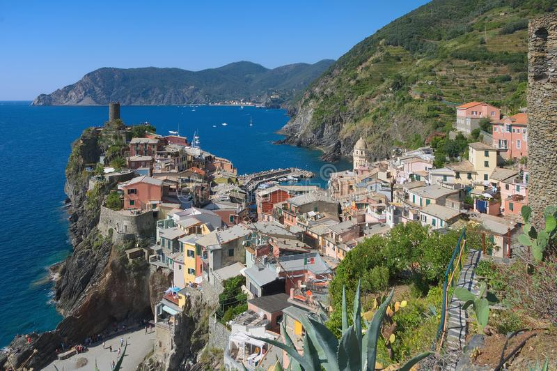 韦尔纳扎五乡地-利古里亚海意大利 免版税库存图片