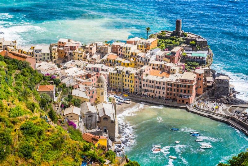 韦尔纳扎,五乡地,意大利镇  免版税图库摄影