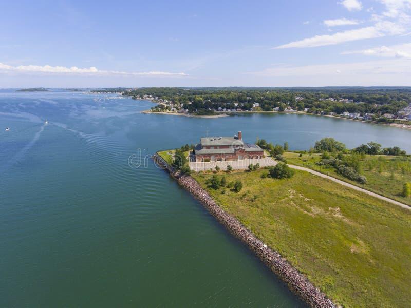 韦茅斯,马萨诸塞,美国鸟瞰图  图库摄影
