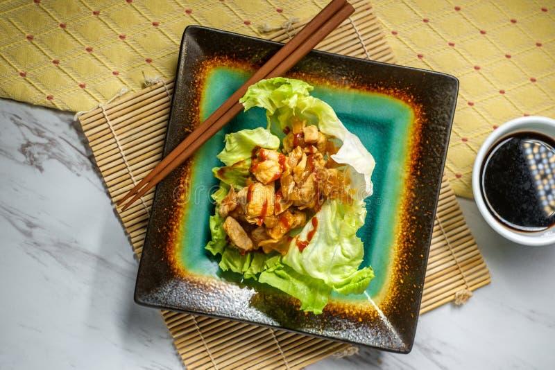 韩国三明治莴苣套 免版税库存照片