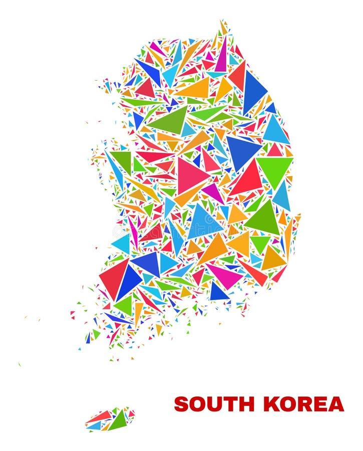 韩国地图-颜色三角马赛克  向量例证