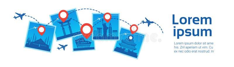 韩国地标旅行Destanations概念在著名大厦模板背景的飞机飞行 皇族释放例证